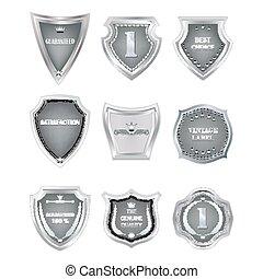 Set of  vintage design elements on white background. Option in the metal.