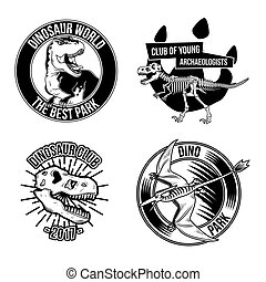 dinosaur emblems, labels, badges, logos