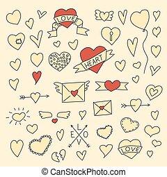set of vintage doodle hearts