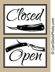 Set of vintage door signs for barber shop with scissors