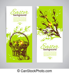 Set of vintage Easter banners with hand drawn sketch illustration