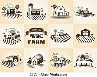 Set of vintage eco farm label, landscapes, buildings, fileds. Retro woodcut style vector illustration.