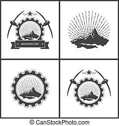 Set of Vintage Emblem of the Mining Industry, Label or Badge...