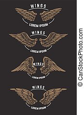 Set of vintage emblem templates with wings. Design elements for logo, label, emblem, poster. Vector illustration