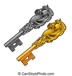 Set of vintage fancy keys in the form of a horse head isolated on white background. Vector cartoon close-up illustration.