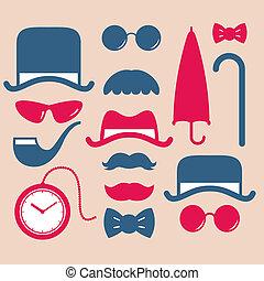 set of vintage fashion icon
