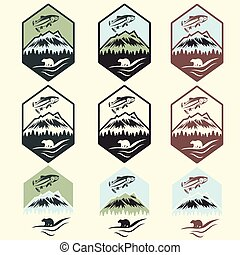 set of vintage fishing camp labels with salmon and bear