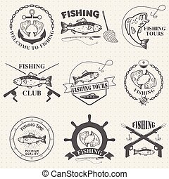 Set of vintage fishing labels, badges