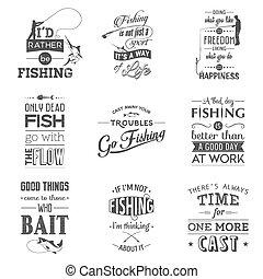 Set of vintage fishing typographic quotes.