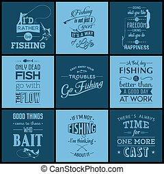 Set of vintage fishing typographic quotes