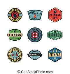 set of vintage fitness gym logos. vector illustration
