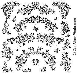 Set of vintage floral design