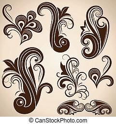 Set of vintage floral design elements vector illustration.
