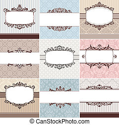 set of vintage floral frame vector illustration