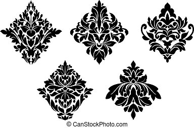 Set of vintage floral patterns and embellishments isolated on white background