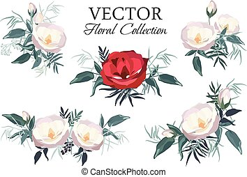 Set of vintage floral vector bouquet of peonies and garden flowers