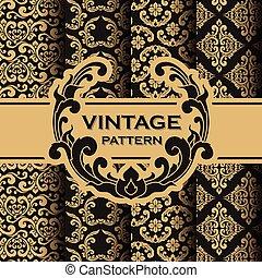 Set of vintage flourishes vine seamless pattern background