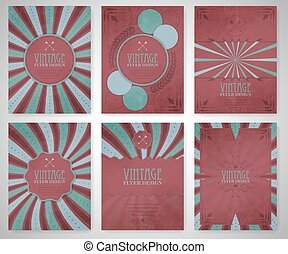 Set of vintage flyer template, brochure, cover design or corporate banner. Editable vector design for your project.