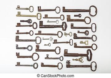 Set of vintage forging iron keys , isolated on white backgroung