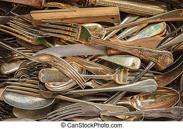 Set of vintage forks, spoons and knifes