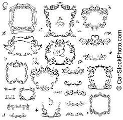 Set of vintage frame and design ele