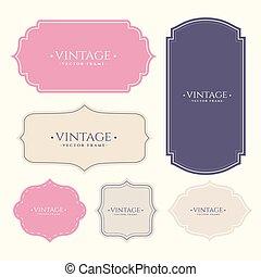 set of vintage frame labels