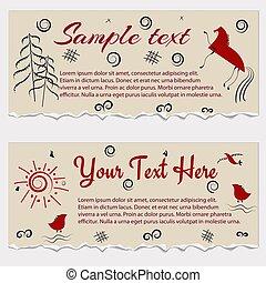 Set of vintage frame templates with folk elements, vector illustration