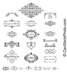 Set of vintage frames and headers for wedding design, menu card, restaurant, cafe, hotel, jewellery store, logo templates, monogram