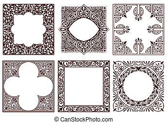 Set of vintage frames, design elements