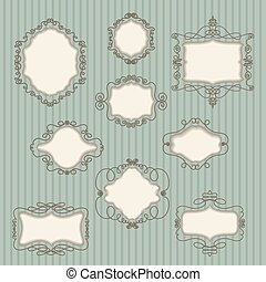 set of vintage frames on retro background