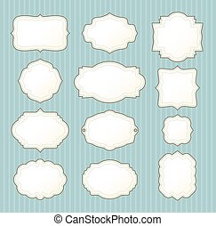 set of vintage frames on striped background. vector