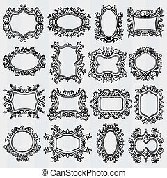 Set of vintage frames. Retro decorative borders - Set of...