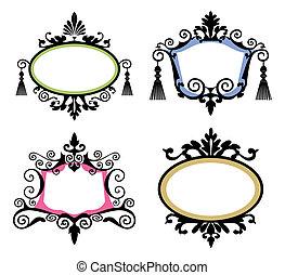 Set of black vintage frames on white background, four decorative elements for your designs.