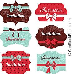 Set of vintage frames. Stickers for wedding design