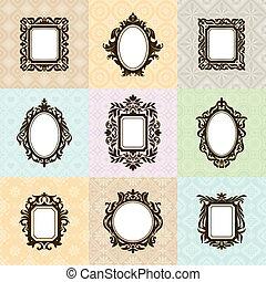 Set of vintage frames vector illustration