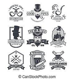 Set of vintage gentleman emblems, labels.
