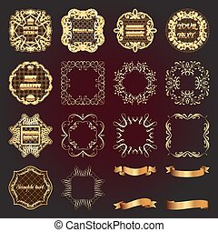 Set of vintage gold design elements-labels, frames, ribbons.