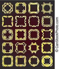 Set of vintage gold frames - design elements.