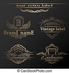 Set of vintage gold labels.