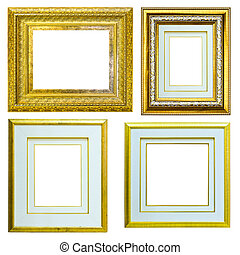 set of Vintage gold picture frame isolated