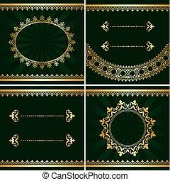 set of vintage golden frames on green backgrounds - vector