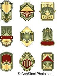Set of vintage golden labels