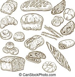 Set of vintage hand drawn bakery elements