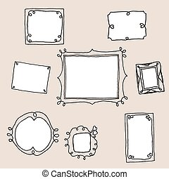 Set of vintage hand drawn frames