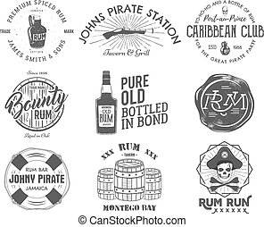 Set of vintage handcrafted emblems, labels, logos. Isolated on a white background. Sketching filled style. Pirate and sea symbols - old rum bottles, barrels, skull, pistol. Vector
