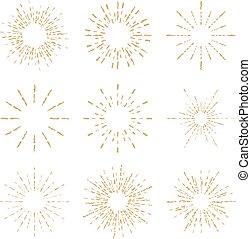Set of vintage handdrawn sunbursts vector