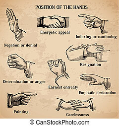 Set of vintage hands - Various Positions in vector - High Quality