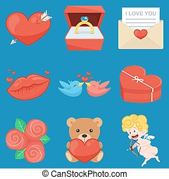 Set Of Vintage Happy Valentines Day icons