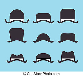 set of vintage hat icon