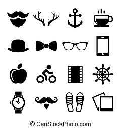 Set of Vintage Hipster Icons and Logos. Vector
